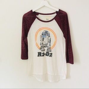 Star Wars R2-D2 Raglan Burnout 3/4 Sleeve T Sz M
